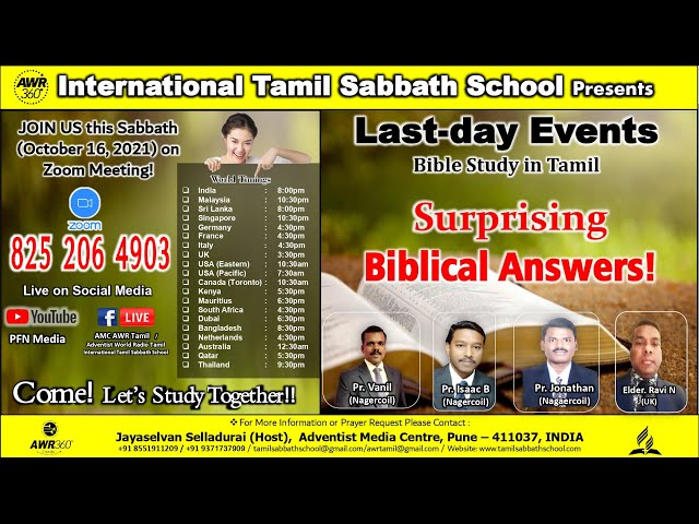 16 Oct 21 Last-day Events - Surprising Bible Answers By Eld.Ravi, Pr.Vanil, Pr.Isaac & Pr. Jonathan