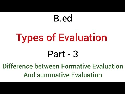 Part - 3 Difference Between Formative Evaluation & Summative Evaluation   Types Of Evaluation   B.ed