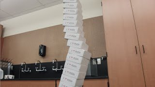 Toy Physics -- Leaning Tower of Pizza boxes puzzle  // Homemade Science with Bruce Yeany