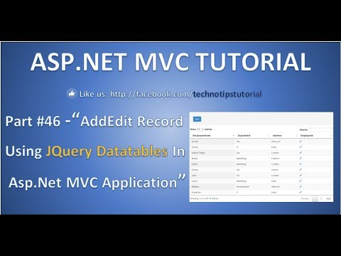 Part 46 - Add Edit record using JQuery DataTable plugin in ASP NET MVC  application