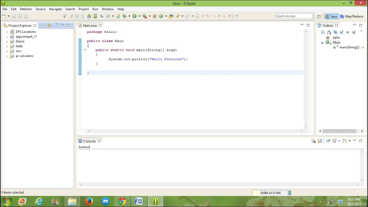 Compiling & Executing a simple Java program in Eclipse