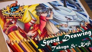 Speed Drawing Takuya and Koji - Digimon Frontier