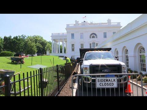 Crews Work to Repair White House Lawn Sinkhole