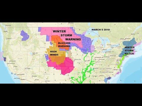 WINTER STORM WARNINGS, BLIZZARD WARNINGS NORTHERN PLAINS. WINTER STORM WATCH NORTHEAST