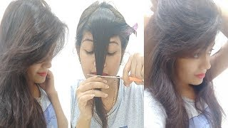 How To Cut Perfect Front Layered Fringe At Home | Side Swept Bangs / Flicks || Krrish Sarkar