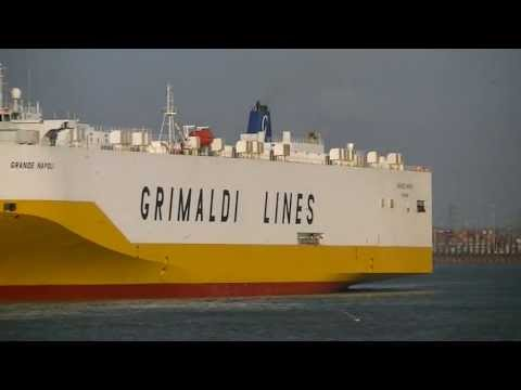 Grande Napoli and Auto Bay Ro/Ro cargo ships set sail from Southampton.