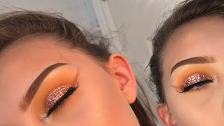 Pink glitter cut crease eyeshadow tutorial