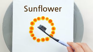 (446) How to paint a sunflower with a toothbrush | Fluid Acrylic for beginners | Designer Gemma77