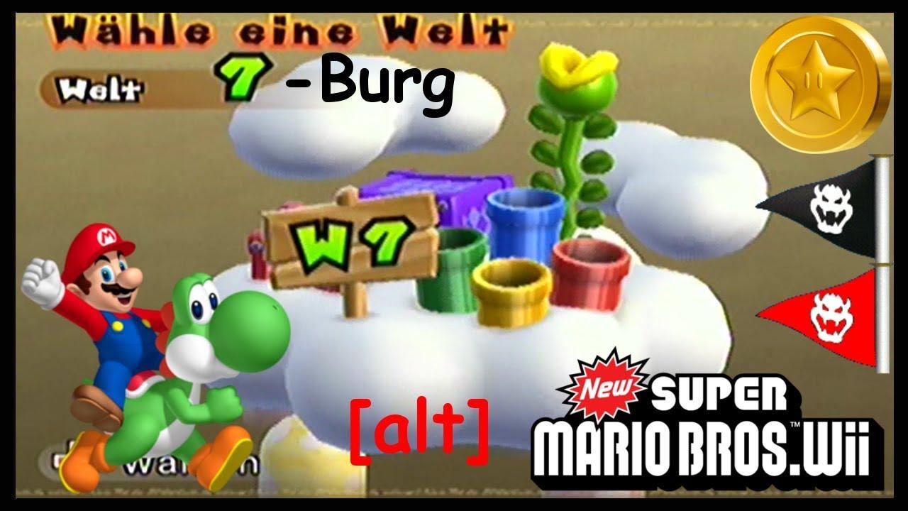 New Super Mario Bros Wii 54 Welt 7 Burg Sternenmünzen Geheimweg