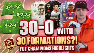 30-0 WITH 30 DIFFERENT FORMATIONS ON FUT CHAMPS WEEKEND LEAGUE! FIFA 21! ⚽📋