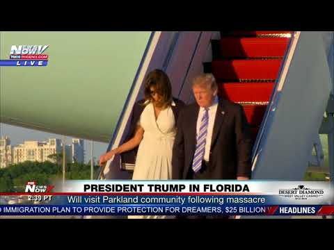 PRESIDENT TRUMP BUMPS Melania Walking Down Air Force One In Florida