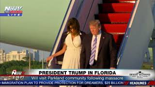 2018-02-16-22-45.PRESIDENT-TRUMP-BUMPS-Melania-Walking-Down-Air-Force-One-In-Florida