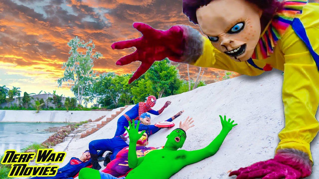 Nerf War Movies: Spiderman X Warriors Nerf Guns Fight Criminal Group Giant Chucky Doll