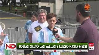 """Tobías, el nene que burló la seguridad para saludar a Messi: """"Fue emocionante"""""""