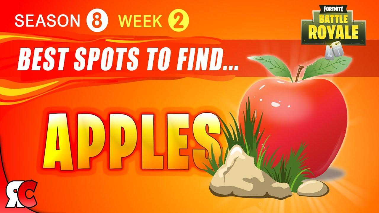 fortnite week 2 best apple locations season 8 gain health from apples best apple spots - fortnite apple spawns season 8