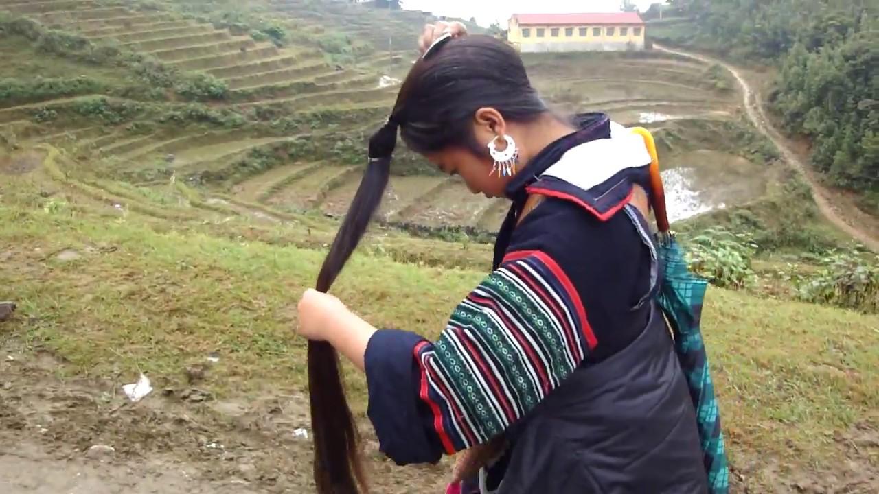 hmong girl long hair - sapa