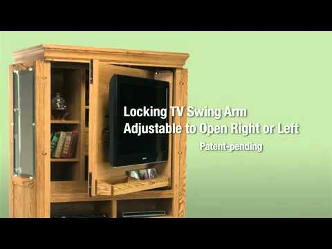 Flat Screen TV Armoire with Swing Arm