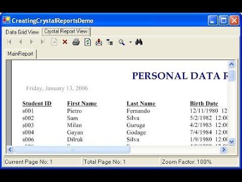 Create Crystal Report using Stored Procedure in C#