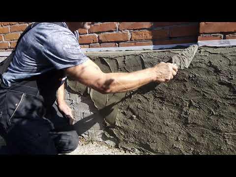 Подготовка и штукатурка цоколя для имитации камня