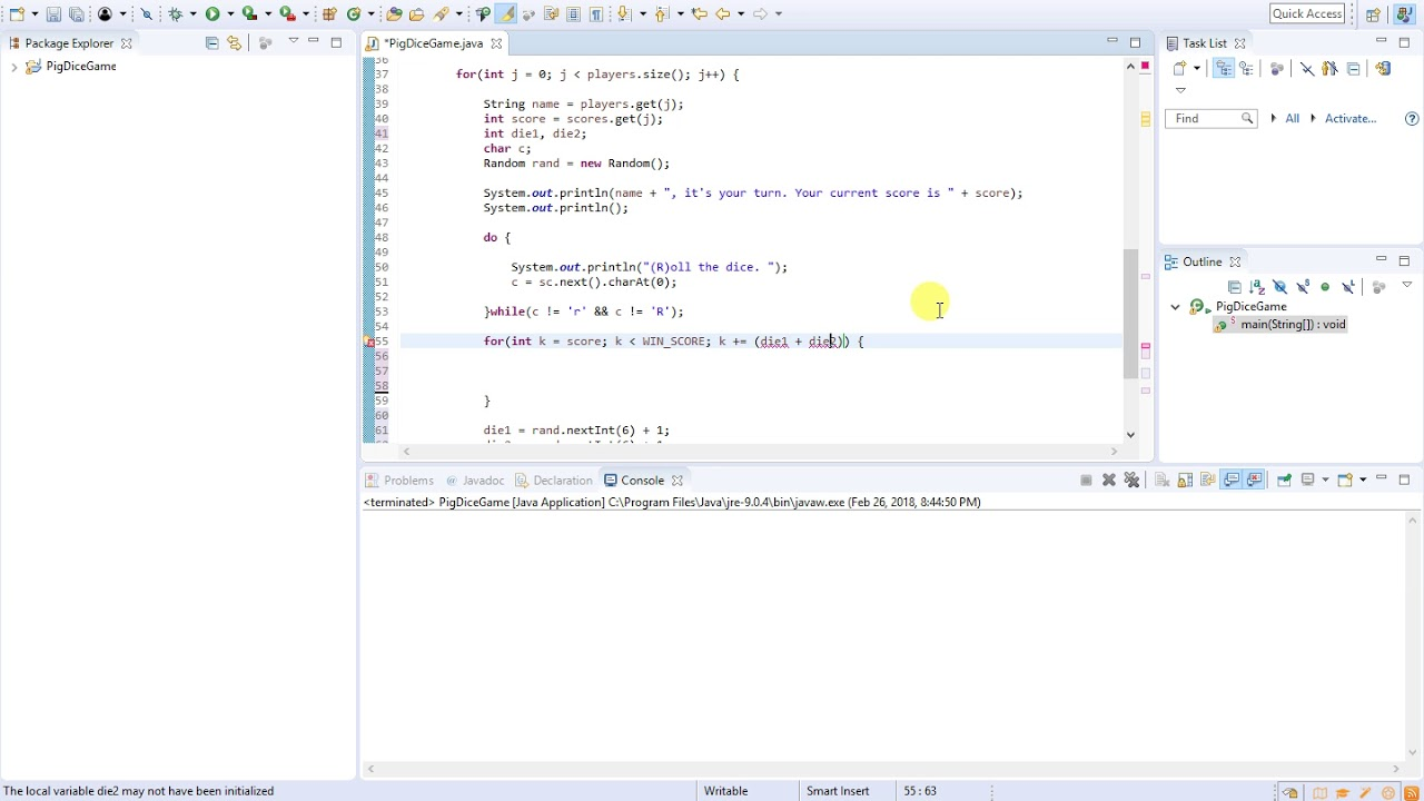 08 - Java Programming (Pig Dice Game) - Setting Up The Game Loop (Part 1)