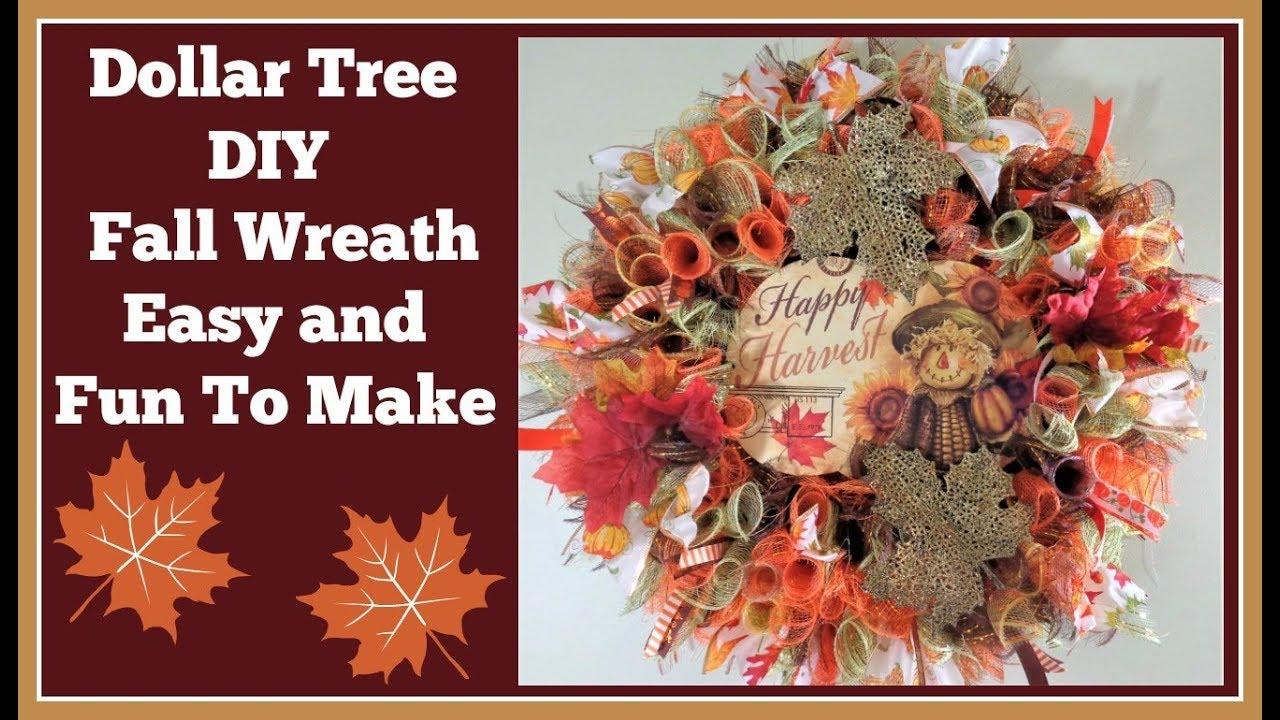 Dollar Tree Diy Fall Wreath Thank You Judy Youtube