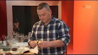 Азу по-татарски из говядины с солёными огурцами и вишнёвый кисель с ароматом лавра и мяты