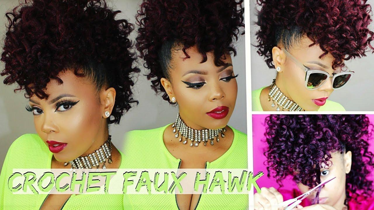 no cornrows $17 braidless crochet |curly crochet faux hawk tutorial 4c natural hair style |tastepink