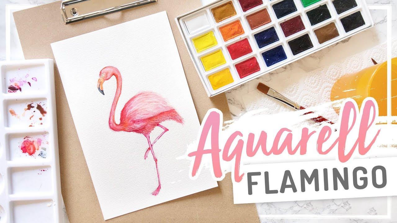 Aquarell Watercolor Flamingo Malen Mit Wasserfarbe