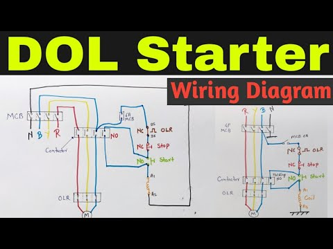 dol starter control and power wiring diagram dol starter in hindi