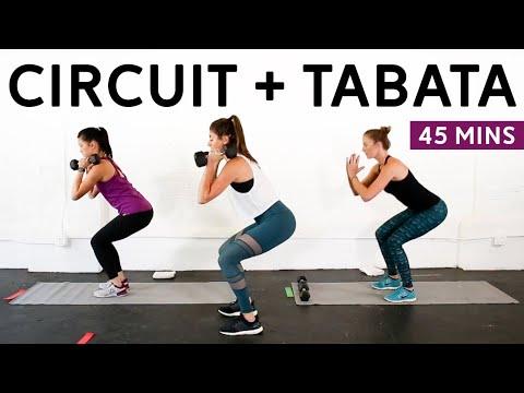 Circuit + Tabata Workout (Dumbbells + Mini Band) // Studio Pumps 45-Minute Class