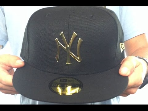 043b56529d9 Yankees  GOLD METAL-BADGE  Black Fitted Hat by New Era - YouTube