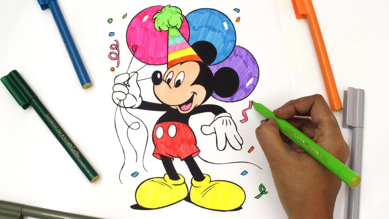 Drawing coloring mickey mouse how to draw mickey mouse color little mickey mouse babytubefun