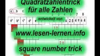 Mathetrick, Quadratzahlen einfach berechnen, Square numbers trick