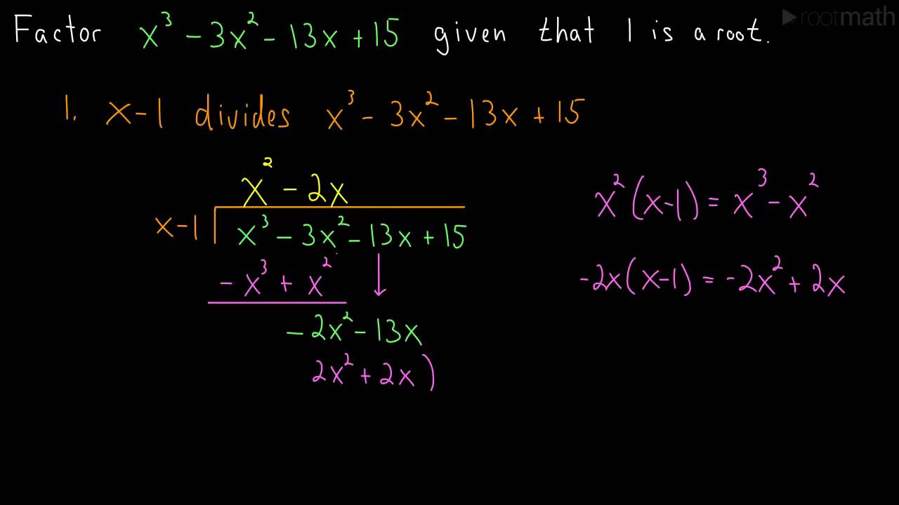 Factoring a cubic polynomial long division youtube ccuart Images