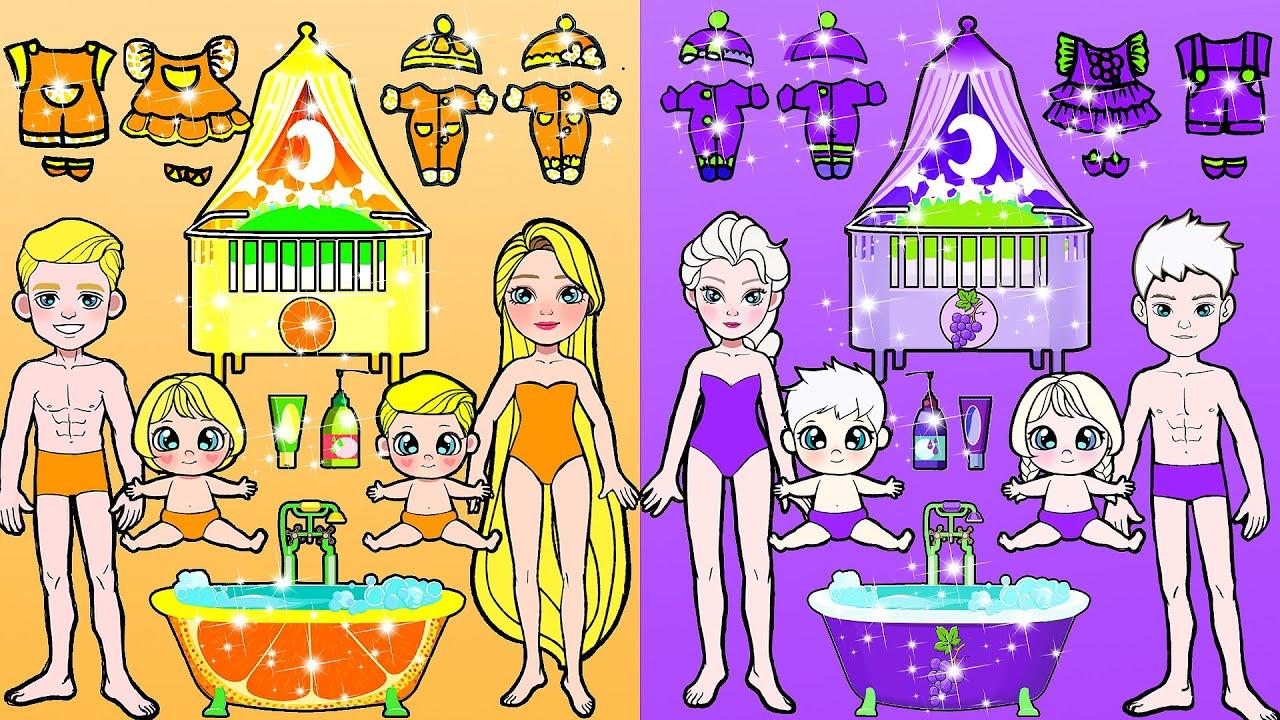 Paper Dolls Dress Up - Violet vs Orange Challenge Adorable Handmade Quiet Book - Barbie New Home