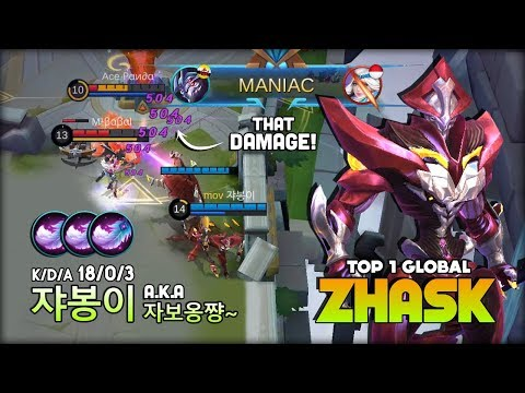 Zhask 18 Kill Without Death?! 쟈봉이 A.k.a 자보옹쨩~ Top 1 Global Zhask ~ Mobile Legends