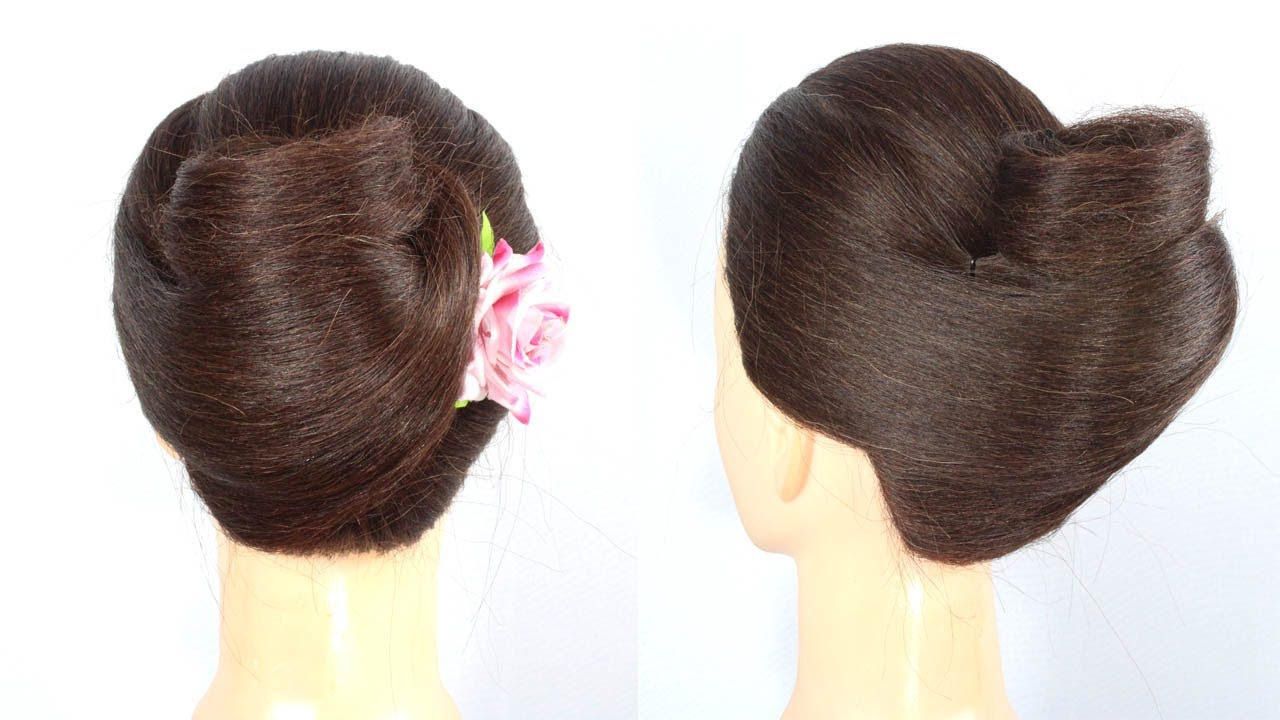 Unique french bun hairstyle for thin hair || Easy french twist hairstyle || French roll/ french bun