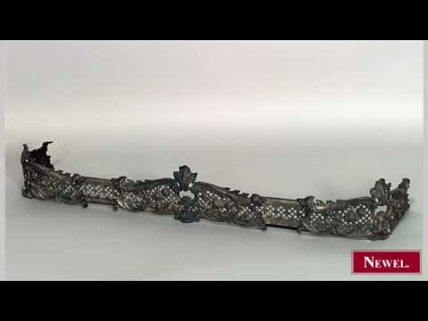 Antique French Victorian brass fire fender with filigree - YouTube