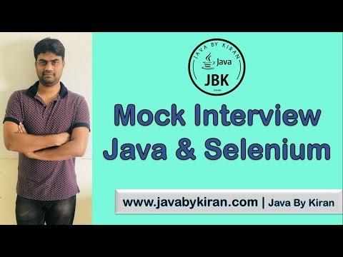 Mock Interview Java and Selenium -By Kiran Sir-JAVA By Kiran,Pune