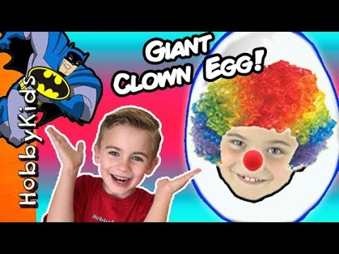 World's Biggest CLOWN Surprise Egg! PRANKS + Toy Hunt. Balloon Animals n' Batman Bucket HobbyKidsTV