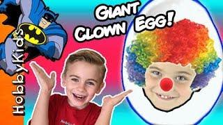 World's Biggest CLOWN Surprise Egg! PRANKS + Toy Hunt. Balloon Animals n' Batman Bucket HobbyKidsTV
