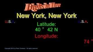 New York New York - Latitude and Longitude - Digits in Three