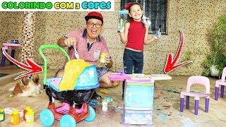 DESAFIO COLORINDO COM 3 CORES COM BRINQUEDOS  (3 MARKER CHALLENGE)