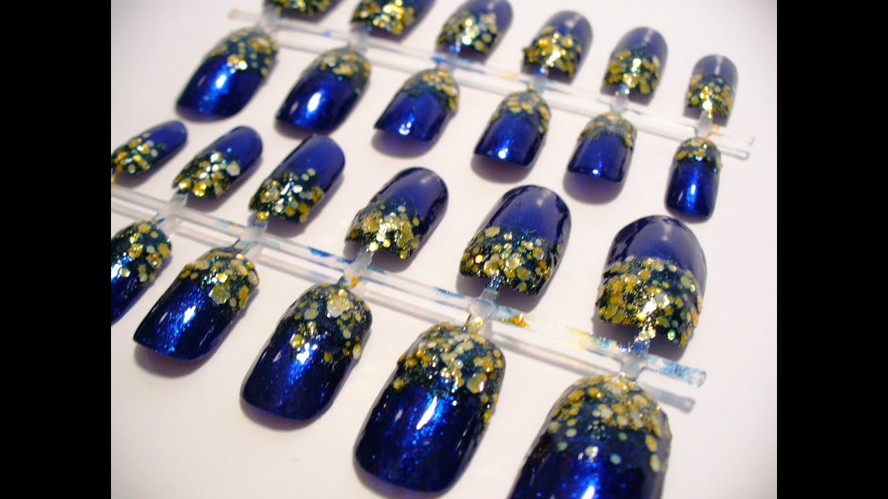 Royal Blue And Sunflower Nail Design Gardening Flower And Vegetables