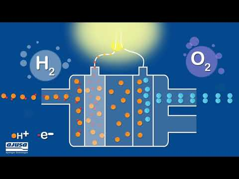 How does a hydrogen fuel cell work?  / ¿Cómo funciona una pila de hidrógeno?
