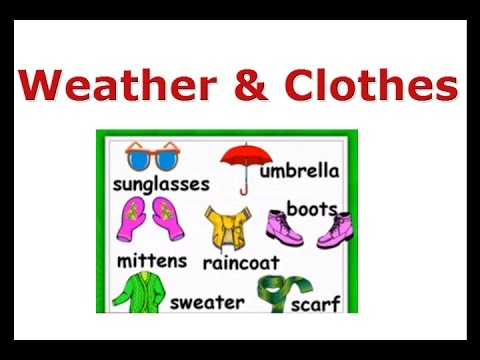 weather and clothes esl vocabulary lessonenglish for kids raincoat umbrella sunglasses