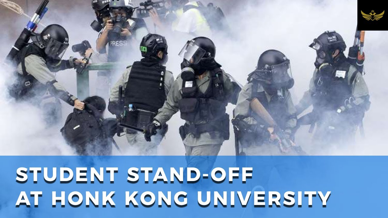 Student stand-off inside a Hong Kong university campus