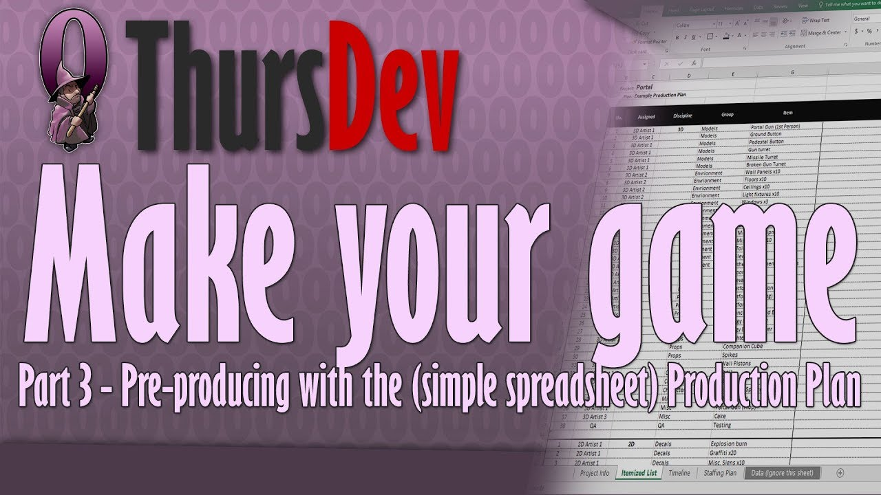 ThursDev: Make Your Game Part 3 - Pre-producing with the (simple  spreadsheet) Production Plan