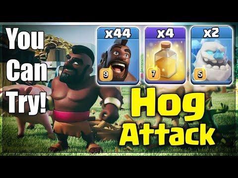New TH12 War 3star Attack 2019! 44 Hog 2 Ice Golem 4 Heal Spell Destroy 3Star TH12 War Base