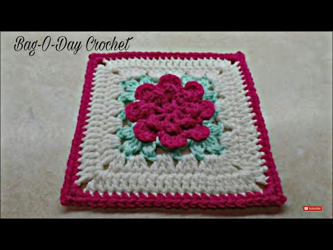 CROCHET How To #Crochet Rose Flower Granny Square Revised in HD #TUTORIAL #303 supersaver